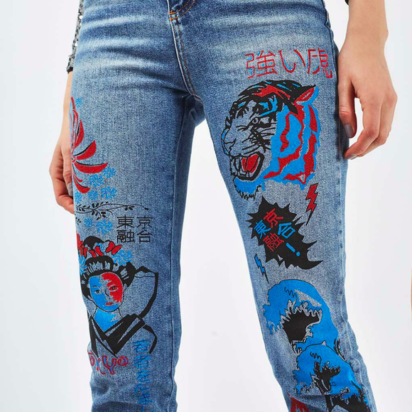 3033aaa4344c65 Topshop Jeans | Moto Graffiti Print Straight Leg | Poshmark